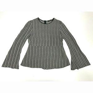 Zara Woman S Herringbone Print Bell Sleeve Blouse